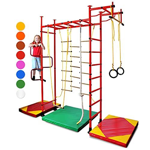 NiroSport FitTop M3 Klettergerüst Indoor für Kinder in Rot/Metallsprossen/TÜV geprüfte Indoor Sprossenwand für Kinderzimmer/leicht montierbare Kletterwand/Turnwand für max. Belastung bis 130 kg
