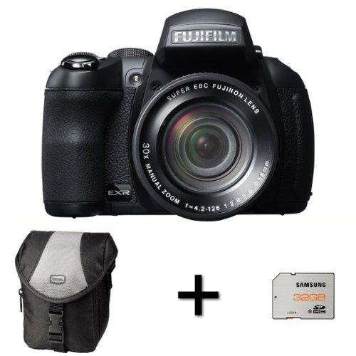 Fujifilm FinePix HS30EXR cámara Digital + Funda y 32GB Tarjeta de Memoria (16MP EXR-CMOS Sensor, 30x Zoom óptico de Manual inclinable Pantalla LCD de 3Pulgadas)