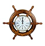 Nagina International 16' Handcrafted Nautical Ship Wheel with 6' Arabic Numeral Dial Face Time's Clock | Maritime Wall Decor Clock