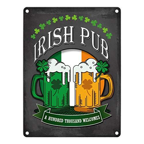 trendaffe - Metallschild mit Irish Pub Motiv - EIN Cooles Metallschild passende weitere Begriffe dazu: Irish Pub Irland Bier Whiskey Kleeblatt Retro Blechschild Schild Dekoration oder Dekoschild.