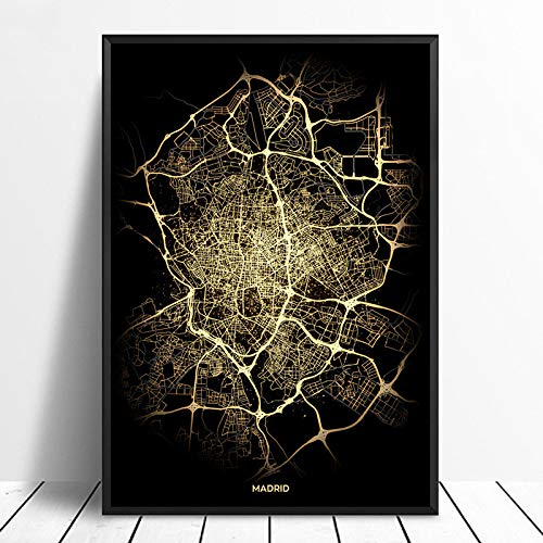ZJMI Canvas druk, Madrid City Light Maps Kleur Zwart Gouden kleur Custom Wereld Stadsplan Poster Kunstdruk op canvas in Scandinavische stijl Wall Art Home Decor 20×30cm No frame