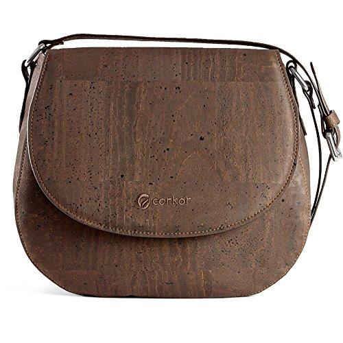 CORKOR Veganer Schultertasche Böhmischen Umhängetasche Damen Geldbeutel Handtasche Natur-Leder Natur - Saddle Bag - Beuteltasche aus Veganem Leder Braun