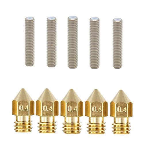 5pcs 0.4mm Ugello Estrusore Stampante 3d e 5pcs Gola Stampante 3d 26mm / 30mm / 40mm / 50mm per Stampante 3d RepRap MK8 MakerBot (M6*30mm)