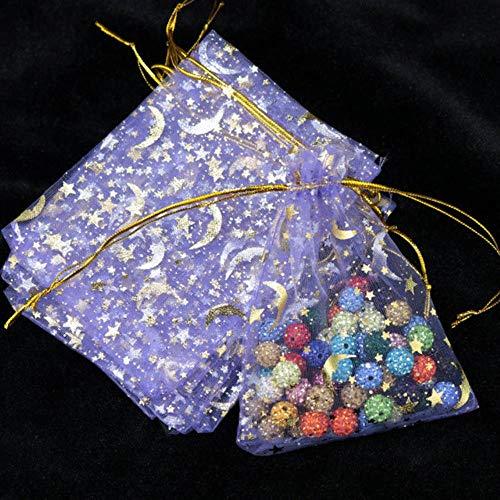 Aober 100St. Moon Star Organza Taschen Kleine Weihnachts-Kordelzug-Geschenktüte Charm Jewelry Packaging Bags, Lila, 7x9cm