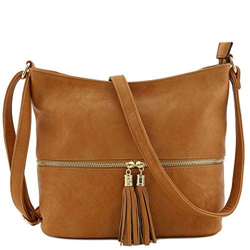 Tassel Zipper Bucket Crossbody Bag Camel