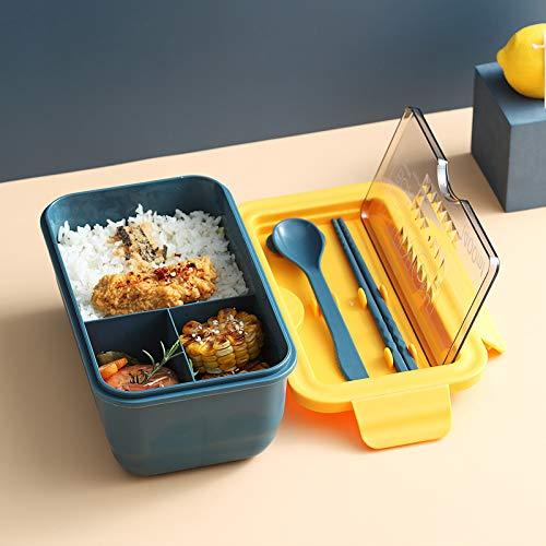 SYLZBHD 1 caja de almuerzo para microondas con compartimentos portátil estilo Bento Box a prueba de fugas contenedor para alimentos con vajilla para la fiambrera Bento (azul, 9,5 x 20 cm)