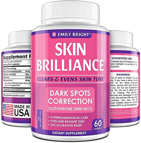 Glutathione Whitening Pills - 2000mcg Glutathione - Better than Skin Lightening Cream - Dark Spots & Acne Scar Remover, Hyperpigmentation Treatment - Anti-aging Effect and Powerful Antioxidant - 60cap