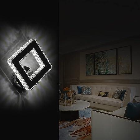 AUA Lampe murale LED, applique murale moderne en cristal, Éclairage Mural Carré 16W, pour chambre à coucher, salon (lumière froide 6000 K)