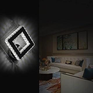 AUA Lampe murale LED, applique murale moderne en cristal, Éclairage Mural Carré 16W, pour chambre à coucher, salon (lumièr...