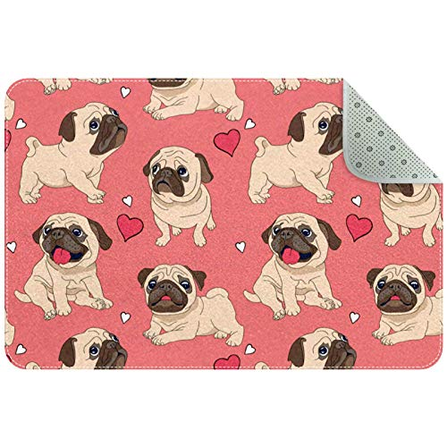 Rectangle Office Chair Mat for Low Pile Carpet, Floor Mat for Front Back Door, Inside Machine Washable Floor Mat Pink Pug Puppy Dog Heart Love Pattern