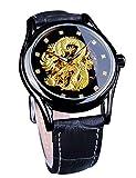 Forsining para hombre Dragon Collection Forsining limitada de lujo tallado Dial dorado mecánico impermeable reloj de pulsera