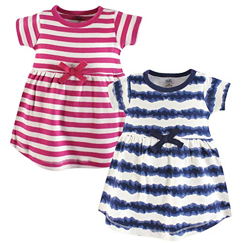 Touched by Nature Girls' Organic Cotton Short-Sleeve Dresses, Tie Dye Stripe,...