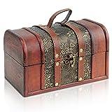 Brynnberg Caja de Madera Cofre del Tesoro Pirata de Estilo Vintage, Hecha a Mano, Diseño Retro 22x14x14cm