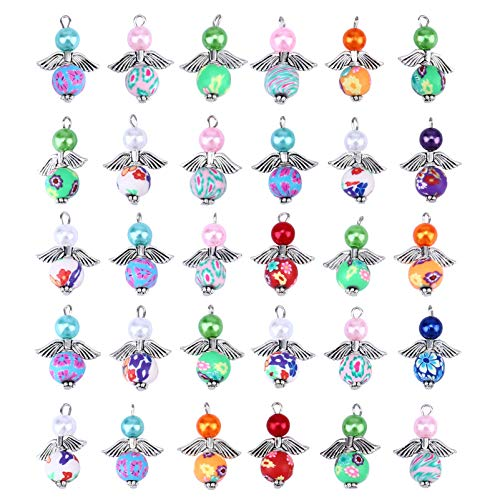 Amosfun 30pcs Angel Charm Colorful Angel Wing Pendant Pearl Beads Jewelry Making DIY Crafting Accessories for Necklace Bracelet Earring(Mixed)