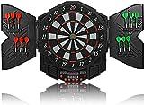 High End LED Elektronische Dartscheibe - Dart Scheibe E Dartboards Dartautomat mit 12 Dartpfeile - 27 Spielen und 216 Varianten für 8 Players (Schwarz)