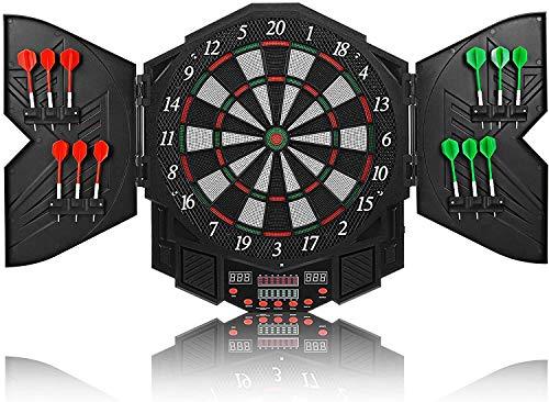 Diana electrónica LED High End – Diana de dardos E diana con 12 dardos – 27 juegos y 216 variantes para 8 jugadores (negro)