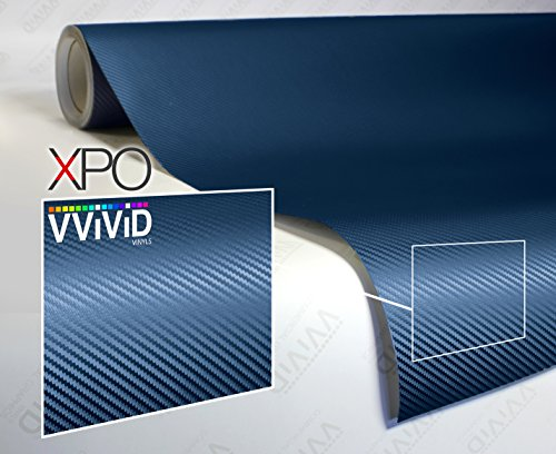 VViViD XPO Dry Navy Blue Carbon Fiber Vinyl Wrap Roll with Air Release Technology (1ft x 5ft)