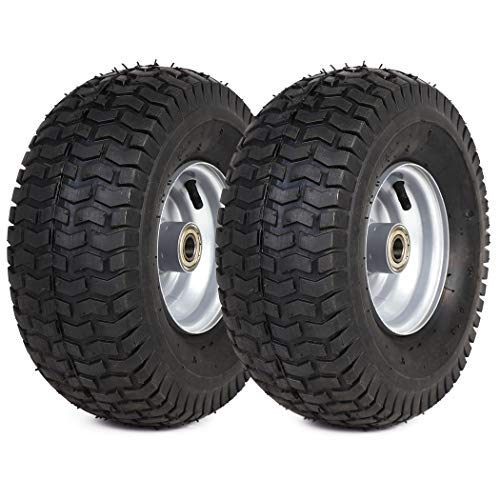 """(2 Pack) 15"""" x 6.00-6"""" Tire and Wheel Set - The Exact Replacements Compatible with Husqvarna 532106732 and 5321122073 - Also for Lawn Tractors with 15"""" Wheels with 3/4"""" Bearings"""