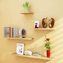 LovemyhomeDD Wall Shelves 4pcs Set Shelf Floating Display Decor Home Wood Wall Mount (Wood)