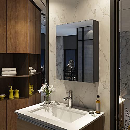 Meykoers Spiegelschrank 50x65cm Spiegelschrank Badezimmerspiegelschrank mit doppelseitigem Spiegel eintüriger Spiegelschrank Bad verstellbares Regal Grau Einfach zu montieren