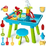 TEMI Kids Sand and Water Table, Toddler Activity Table Sandbox Toy Sensory Table Outdoor Toy Beach Play Table 27 Pcs Accessories for Kids Toddlers Children