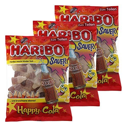 Haribo Happy Cola Lemon Fresh, 3er Pack, Gummibärchen, Weingummi, Fruchtgummi, Im Beutel, Tüte, 200 g