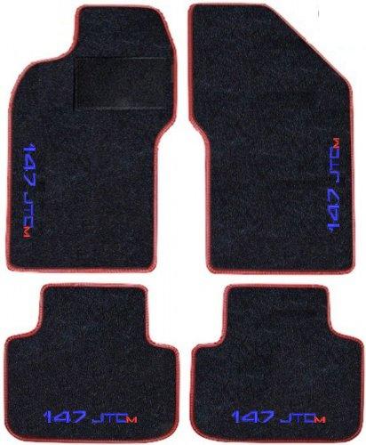Lot complet de tapis de voiture noirs avec bord rouge, en moquette sur mesure, brodés à fil bleu