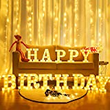 Brightdeco Light Up Happy Birthday Sign LED Marquee Letter Sign Anniversary Party Night Lamp Banquet Props