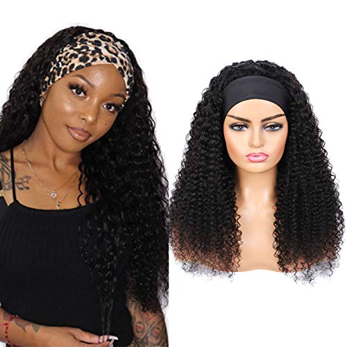 Headband Wig for women Curly Wave Human Hair Wigs Natural Black Color Glueless None Lace Front Wigs Brazilian Virgin Human Hair Machine Made Headband Wigs 180% Density 18 inch