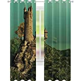 YUAZHOQI - Cortina de ventana medieval opaca con torre de magos en la colina con flores y prado,...