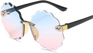 lliang - Gafas de Sol 2021 Elegantes niños sin Montar en Flor Gafas de Sol Moda niño Redondo Rosa gradiente Gafas de Sol Chico niña Gafas UV400 Frontera Similar a la Onda