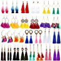 AROIC 26 Pairs Tassel Earrings with Colorful Tassel Long Layered Dangle Hoop Tiered Thread Earrings Set for Women Girls Jewelry Fashion and Valentine Birthday Party Gift