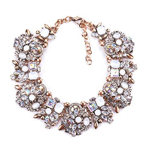 Ototon - Collar con cadena de estrás, cadena de lujo, brillante, regalo de collar moderno, joya para mujer y niña