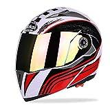 Casco Adulto Motocross Casco Integrale off Road Casco Moto MX Dirt Bike Casco modulare D.O.T Certified Fly Racing Tourist Open Face colorato,Red,XL