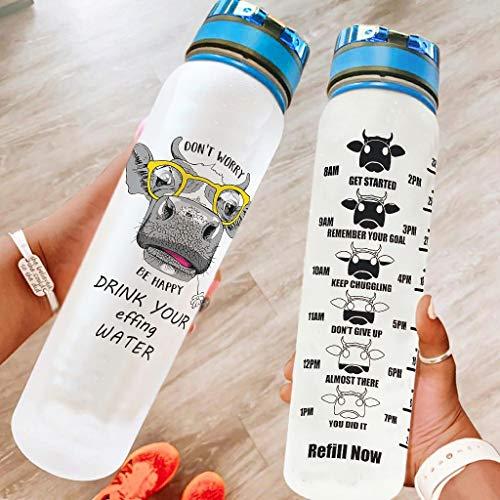 Bestwe Botella de agua con diseño de vaca, botella de Tritan, botella de agua ligera para deportes, exterior, escuela, fitness, color blanco, 1000 ml