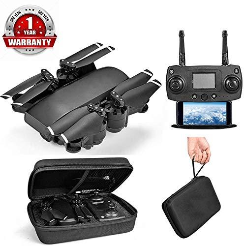 ZGYQGOO Drone avec caméra pour Adultes, vidéo HD en Direct et GPS, 2.4Ghz WiFi Caméra HD, vidéo en Direct GPS gyroscopique à 4 Axes, hélicoptère 20 Min Temps vol Longue portée, Noir