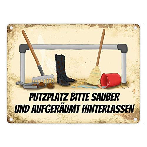 O1FHW-8 Reiter Metallschild mit Putzstelle Motiv und Spruch: Bitte Putzplatz säubern 18X25cm Eisene Schilder