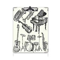 クリップボード A4 ジャズ音楽 子供の贈り物バインダー トランペットピアノギターの楽器スケッチスタイルアートのコレクション A4 タテ型 クリップファイル ワードパッド ファイルバインダー 携帯便利ベージュブラック