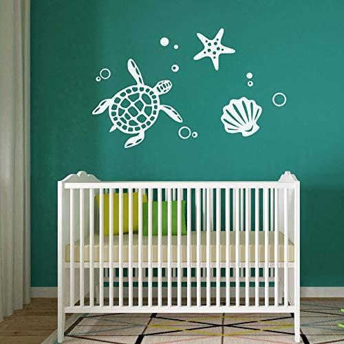 FlyWallD Ocean Sea Turtle Vinyl Art Shell Starfish Bubble Decal Home Decor Tortoise Wall Stickers