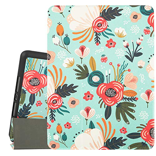 Hi Space iPad 10.2 Case Flower 2019 Floral iPad 7th Generation Case with Pencil Holder, Green Plant Slim Stand Back Shell Protective Smart Shockproof Cover with Auto Sleep/Wake for A2197 A2198 A2200