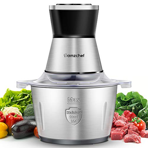 AMZCHEF Food Processor Electric Chopper 1.8L Stainless Steel Food Chopper 2 Working Speed 4 bi-Level Blades and Stainless Steel Bowl 350W Mini Meat Grinder for Meat Carrots Onion Salad Fruits