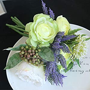 Silk Flower Arrangements Artificial and Dried Flower Artificial Silk Camellia Peony Flower Wedding Bridal Holding Fake Flower Bouquet Hydrangea Berry for Home Party Decoration - ( Color: Green )