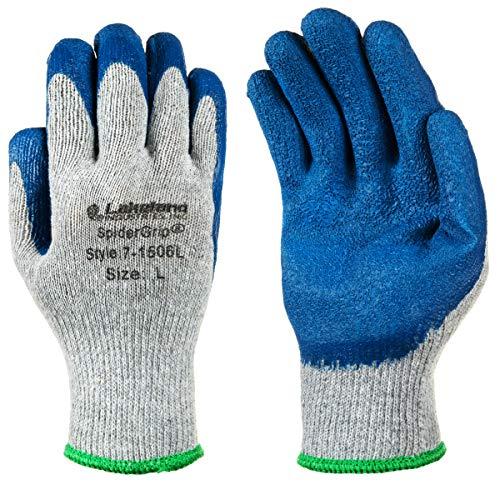 Lakeland SpiderGrip 7-1506 Dipped Latex Coated Palm, Slip Resistant, Knit Work Glove, Grip, Large, Grey/Blue (12 Pair)