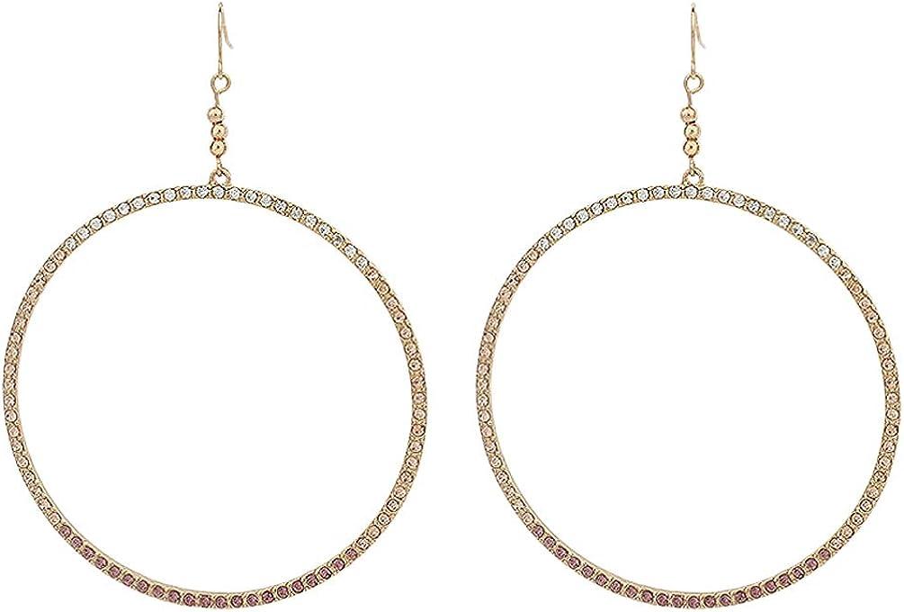 Holibanna Gold Dangle Earrings Geometric Circle Earrings Crystal Rhinestone Ear Drop Metal Ear Jewelry Ear Charms for Women