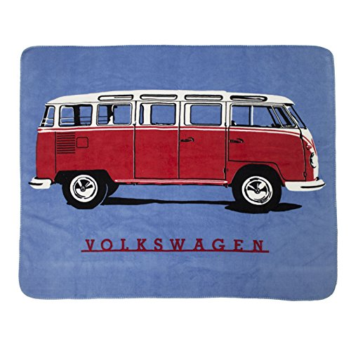Volkswagen Officially Licensed VW Campervan Splitscreen Beetles King of The Road 130cmx150cm Bed Throw, combination, Blue