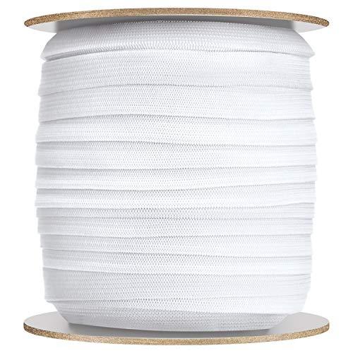 White Wide Sewing Elastic Knit Elastic Spool (1/4 Inch x 100 Yards)
