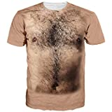 Men Women T-Shirts Crew Neck Funny Bare Hairy Chest Short Sleeve Cute Gym Work Top Summer Graphic Tees