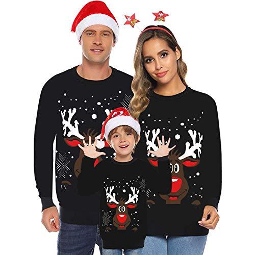 Longra Weihnachtspullover 3D-Druck Familie Set Rundhals Christmas Sweater Unisex Sweatshirt Pullover Für Damen Herren Teen Kinder