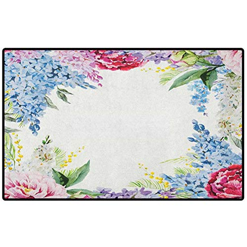 Flower Outdoor Mat 57x24 Springtime Fragrance Garland with Bunch of Flowers Lilac Lavender Rose Peony Artsy Print Floor Mat, Rug for Patio, Front Door