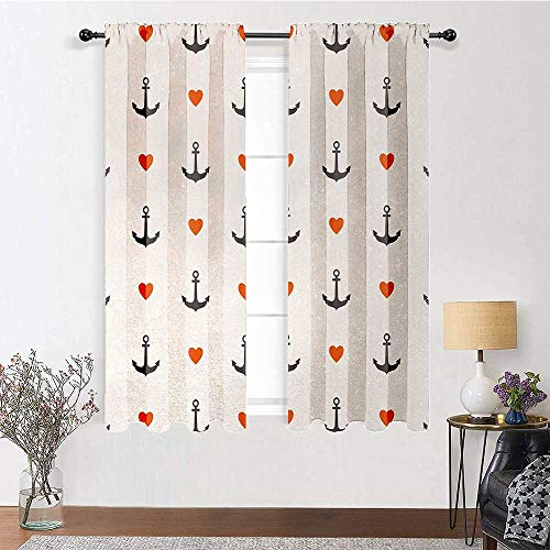 Blackout Window Curtain Anchors and Hearts Sweet Romantic Beach Holiday Party Gathering Leisure Tour Light Filtering Window Curtain for Living and Bedroom (2 Pieces, 27.5 inches Wide Each Panel)